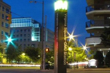 800px-Virginia_Sq-GMU_station_entrance_pylon_at_night